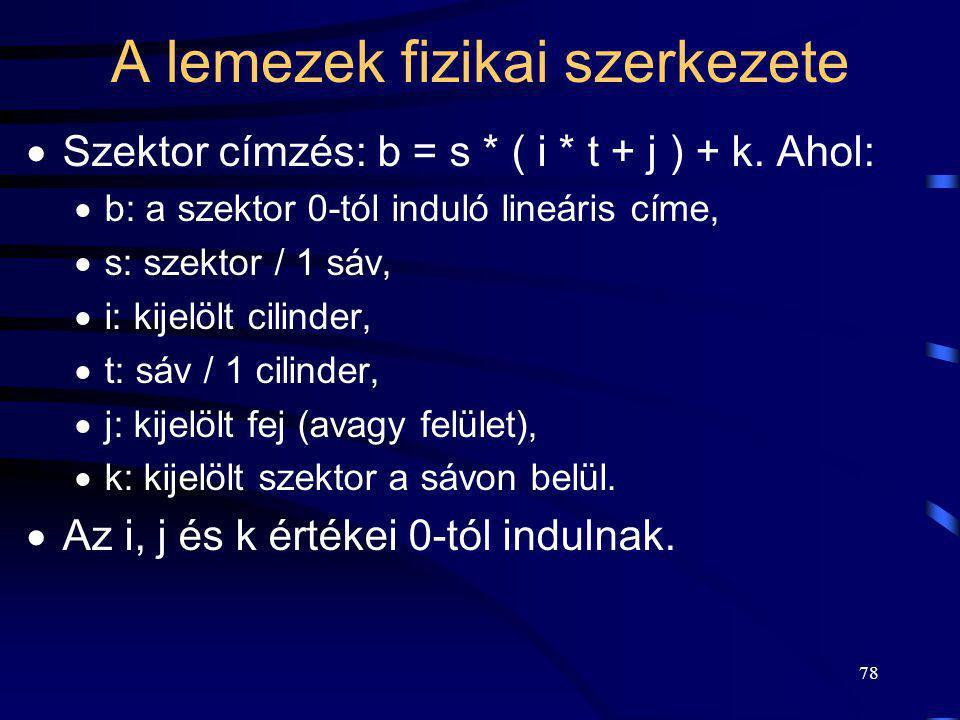 78 A lemezek fizikai szerkezete  Szektor címzés: b = s * ( i * t + j ) + k. Ahol:  b: a szektor 0-tól induló lineáris címe,  s: szektor / 1 sáv, 