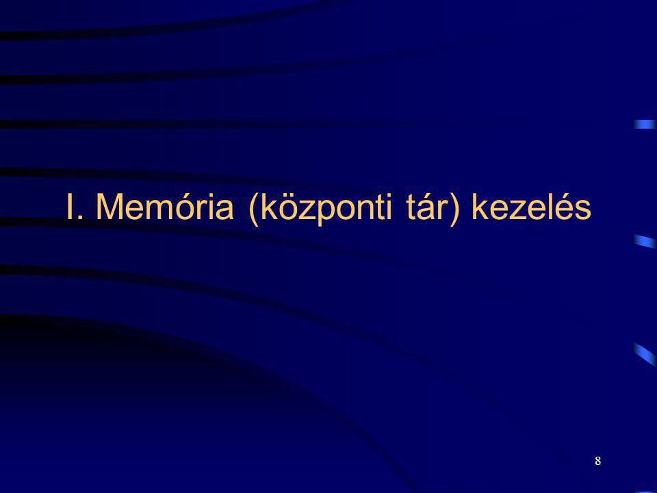 8 I. Memória (központi tár) kezelés