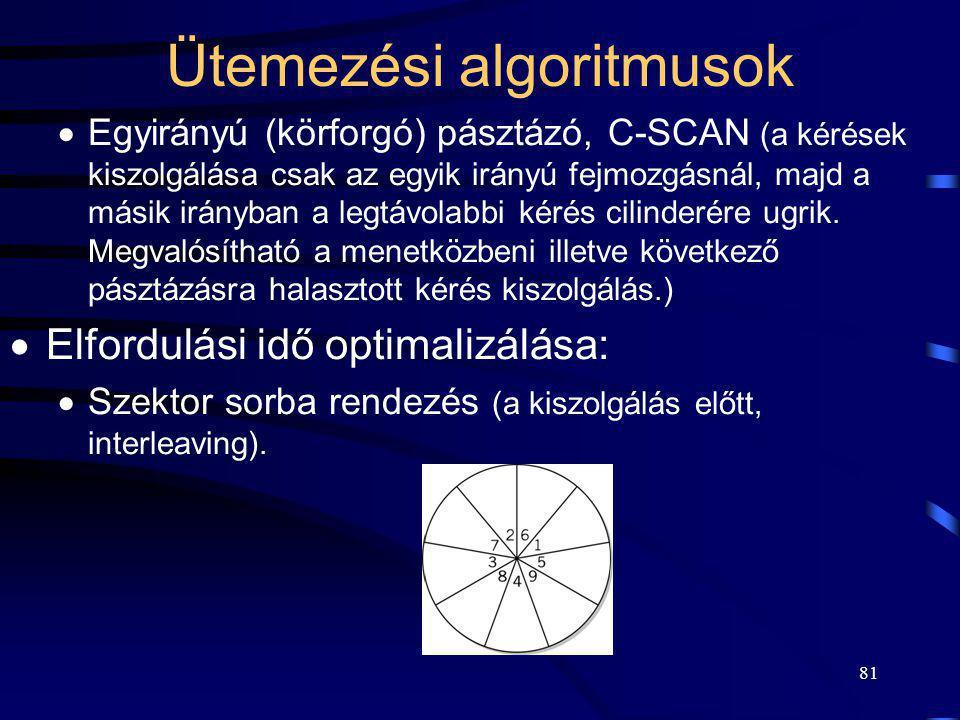 81 Ütemezési algoritmusok  Egyirányú (körforgó) pásztázó, C-SCAN (a kérések kiszolgálása csak az egyik irányú fejmozgásnál, majd a másik irányban a l