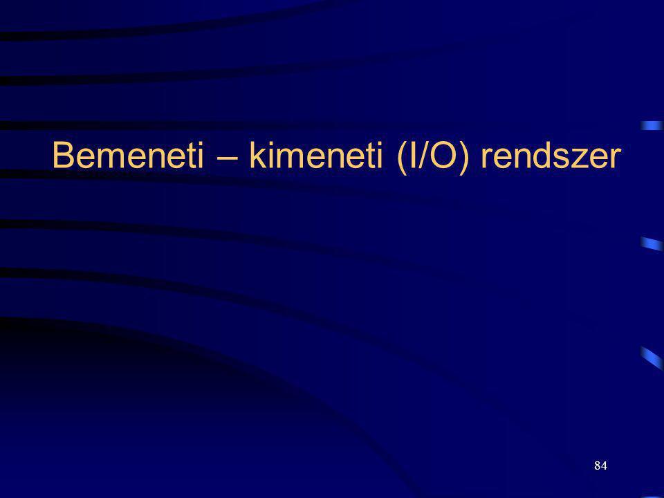 84 Bemeneti – kimeneti (I/O) rendszer