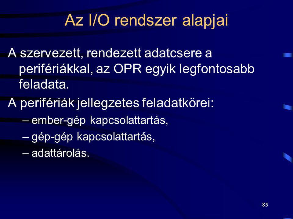 85 Az I/O rendszer alapjai A szervezett, rendezett adatcsere a perifériákkal, az OPR egyik legfontosabb feladata. A perifériák jellegzetes feladatköre