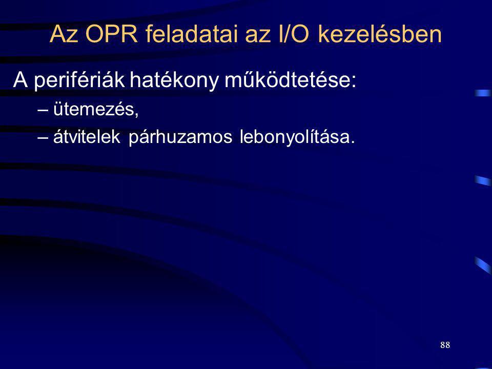88 Az OPR feladatai az I/O kezelésben A perifériák hatékony működtetése: –ütemezés, –átvitelek párhuzamos lebonyolítása.