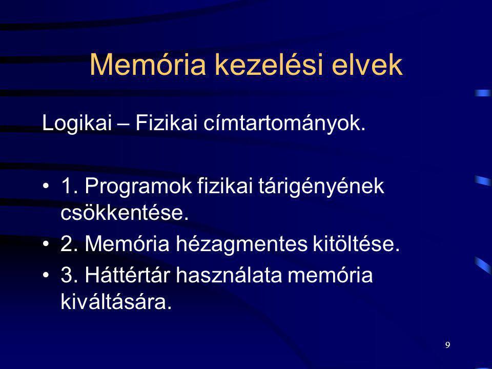 9 Memória kezelési elvek Logikai – Fizikai címtartományok. 1. Programok fizikai tárigényének csökkentése. 2. Memória hézagmentes kitöltése. 3. Háttért