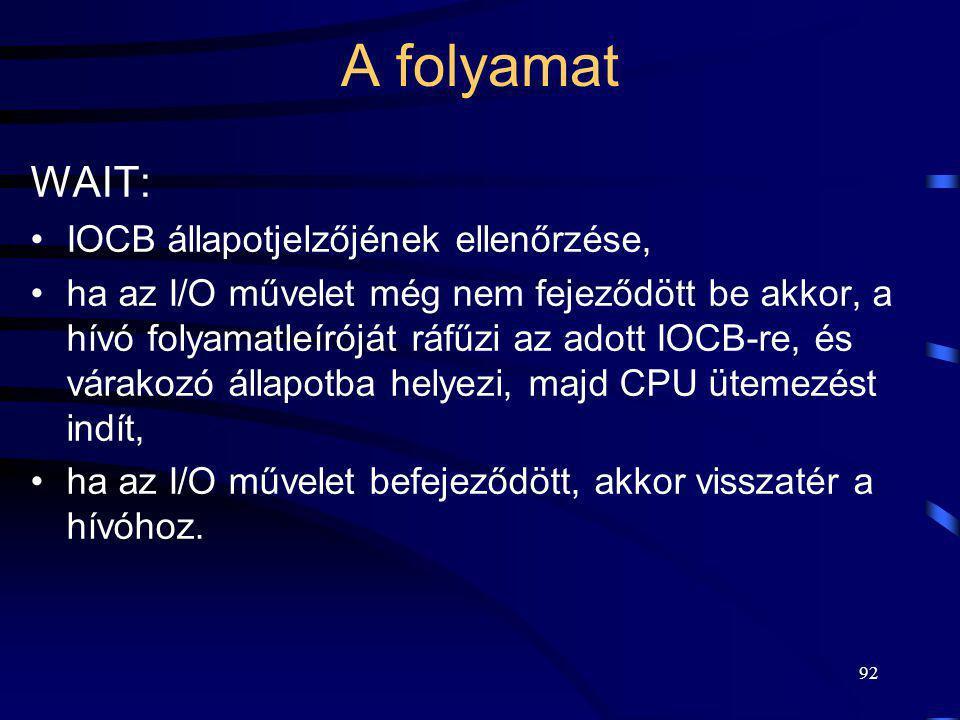 92 A folyamat WAIT: IOCB állapotjelzőjének ellenőrzése, ha az I/O művelet még nem fejeződött be akkor, a hívó folyamatleíróját ráfűzi az adott IOCB-re