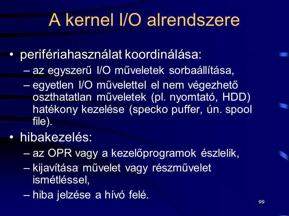 99 A kernel I/O alrendszere perifériahasználat koordinálása: –az egyszerű I/O műveletek sorbaállítása, –egyetlen I/O művelettel el nem végezhető oszth