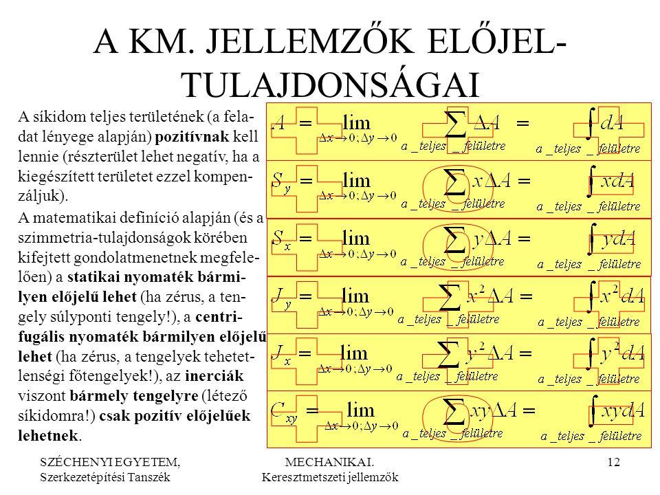 SZÉCHENYI EGYETEM, Szerkezetépítési Tanszék MECHANIKA I. Keresztmetszeti jellemzők 12 A KM. JELLEMZŐK ELŐJEL- TULAJDONSÁGAI A síkidom teljes területén