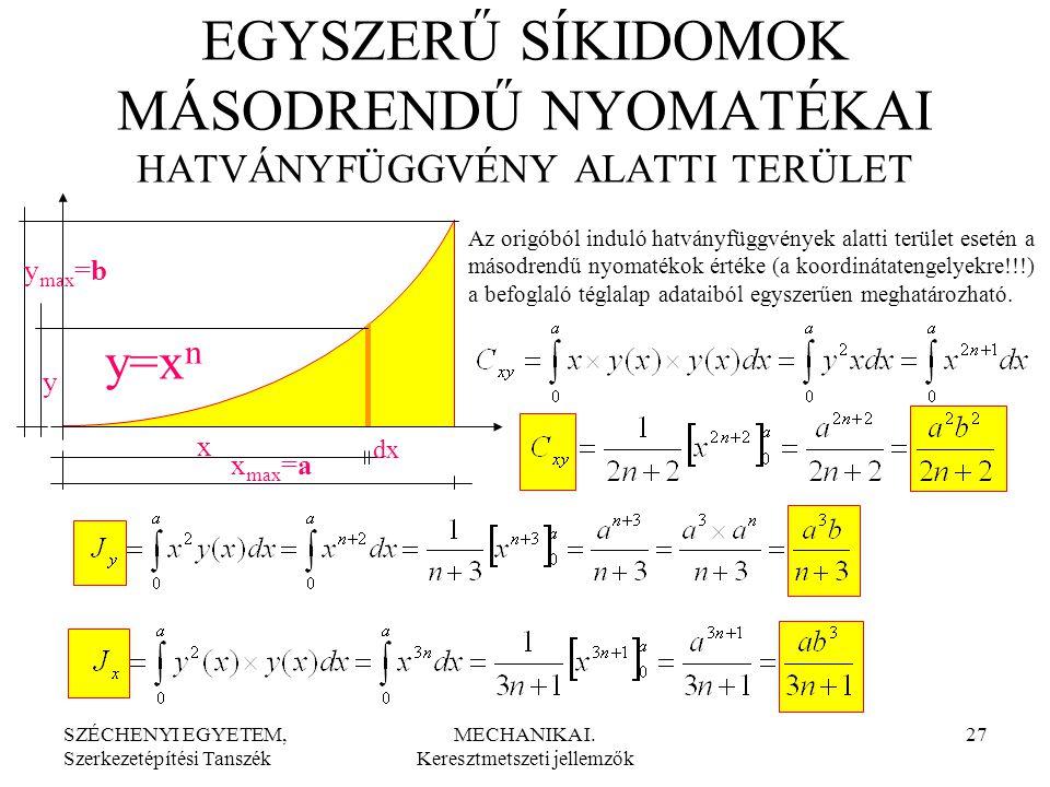 SZÉCHENYI EGYETEM, Szerkezetépítési Tanszék MECHANIKA I. Keresztmetszeti jellemzők 27 y=x n x dx y y max =b x max =a EGYSZERŰ SÍKIDOMOK MÁSODRENDŰ NYO