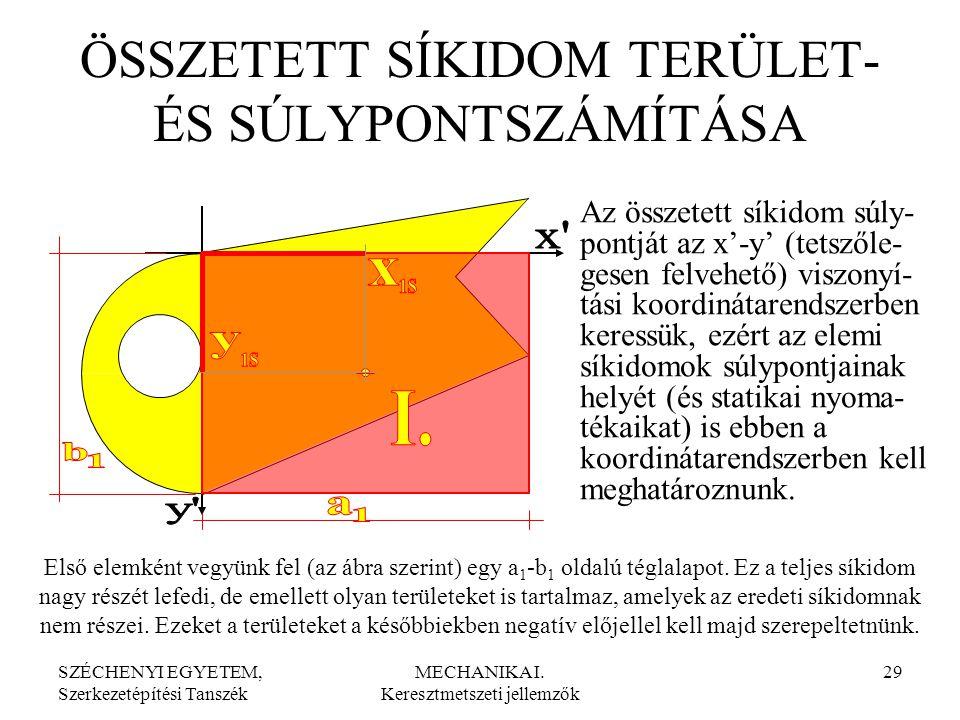 SZÉCHENYI EGYETEM, Szerkezetépítési Tanszék MECHANIKA I. Keresztmetszeti jellemzők 29 ÖSSZETETT SÍKIDOM TERÜLET- ÉS SÚLYPONTSZÁMÍTÁSA Az összetett sík