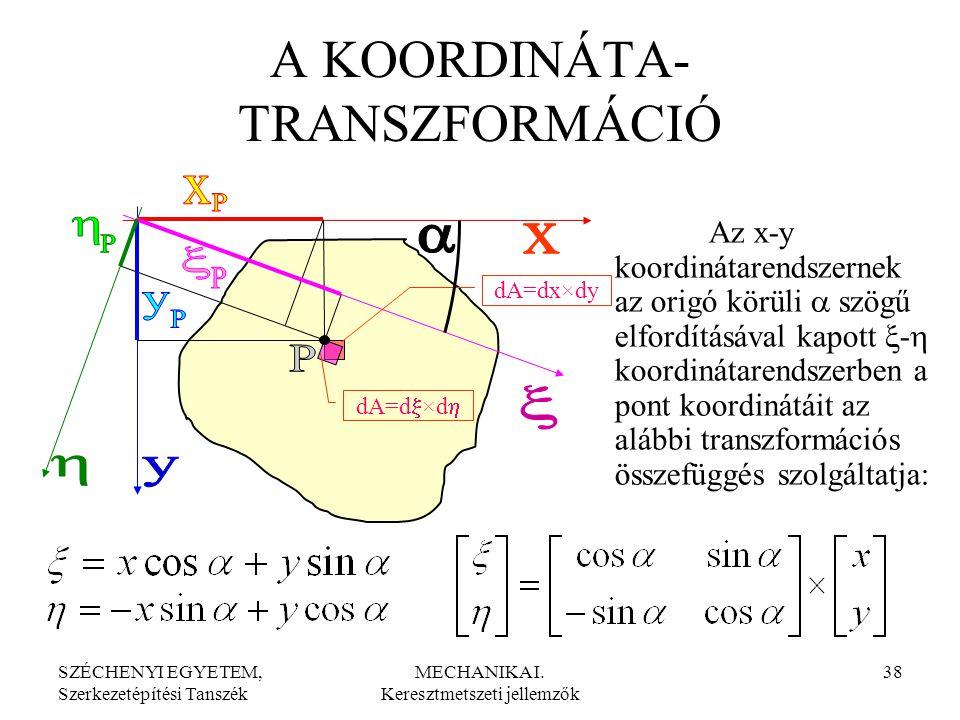 SZÉCHENYI EGYETEM, Szerkezetépítési Tanszék MECHANIKA I. Keresztmetszeti jellemzők 38 A KOORDINÁTA- TRANSZFORMÁCIÓ Az x-y koordinátarendszernek az ori