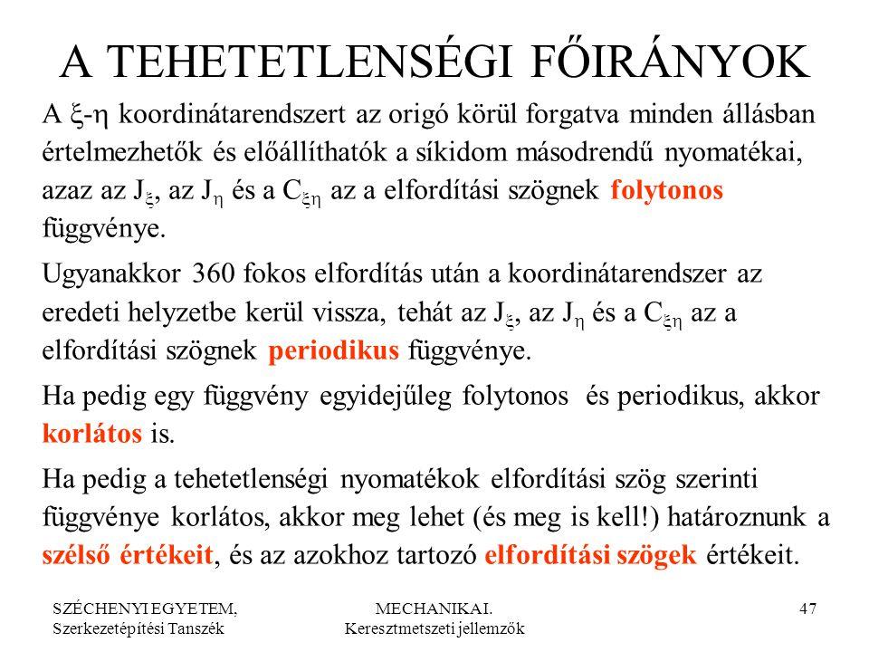 SZÉCHENYI EGYETEM, Szerkezetépítési Tanszék MECHANIKA I. Keresztmetszeti jellemzők 47 A TEHETETLENSÉGI FŐIRÁNYOK A  -  koordinátarendszert az origó