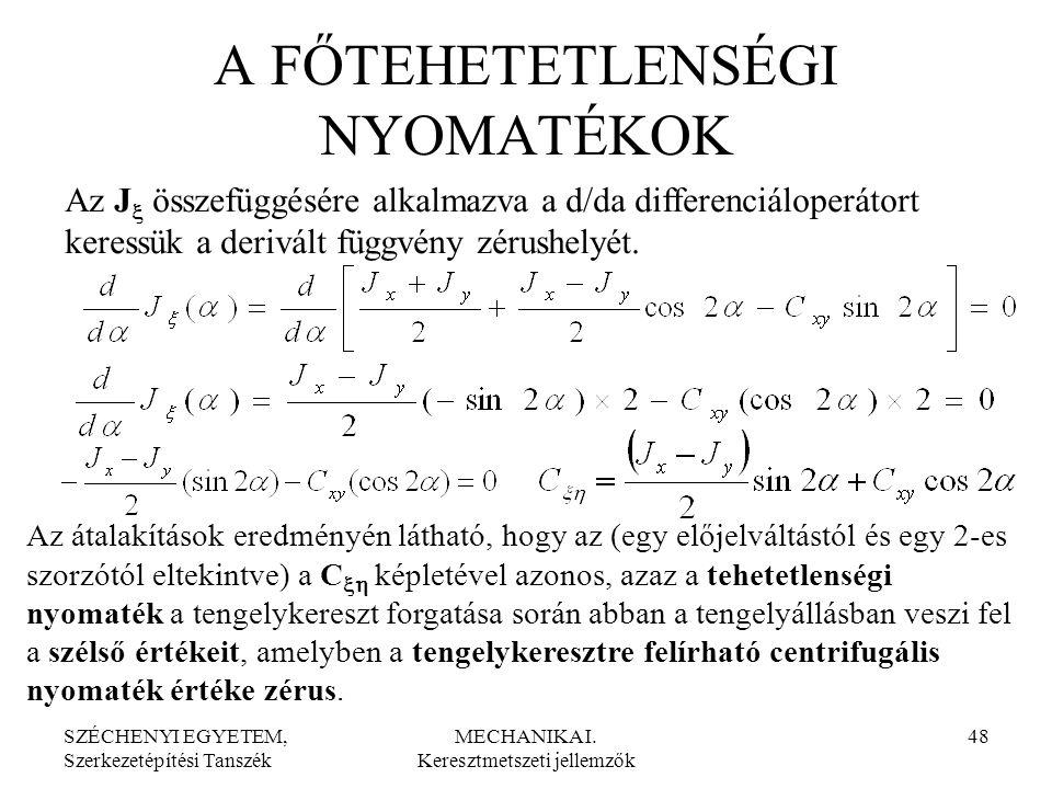 SZÉCHENYI EGYETEM, Szerkezetépítési Tanszék MECHANIKA I. Keresztmetszeti jellemzők 48 A FŐTEHETETLENSÉGI NYOMATÉKOK Az J  összefüggésére alkalmazva a
