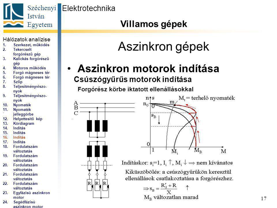 Széchenyi István Egyetem 17 Aszinkron gépek Aszinkron motorok indítása Elektrotechnika Villamos gépek...