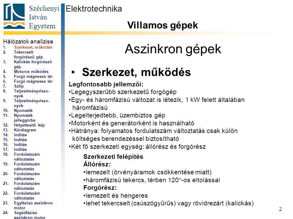 Széchenyi István Egyetem 2 Aszinkron gépek Szerkezet, működés Elektrotechnika Villamos gépek...
