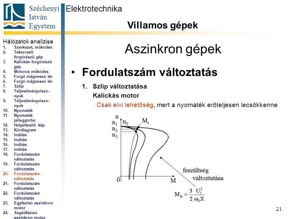 Széchenyi István Egyetem 21 Aszinkron gépek Fordulatszám változtatás Elektrotechnika Villamos gépek...