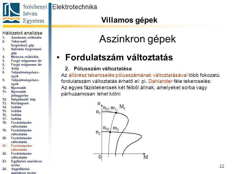 Széchenyi István Egyetem 22 Aszinkron gépek Fordulatszám változtatás Elektrotechnika Villamos gépek...