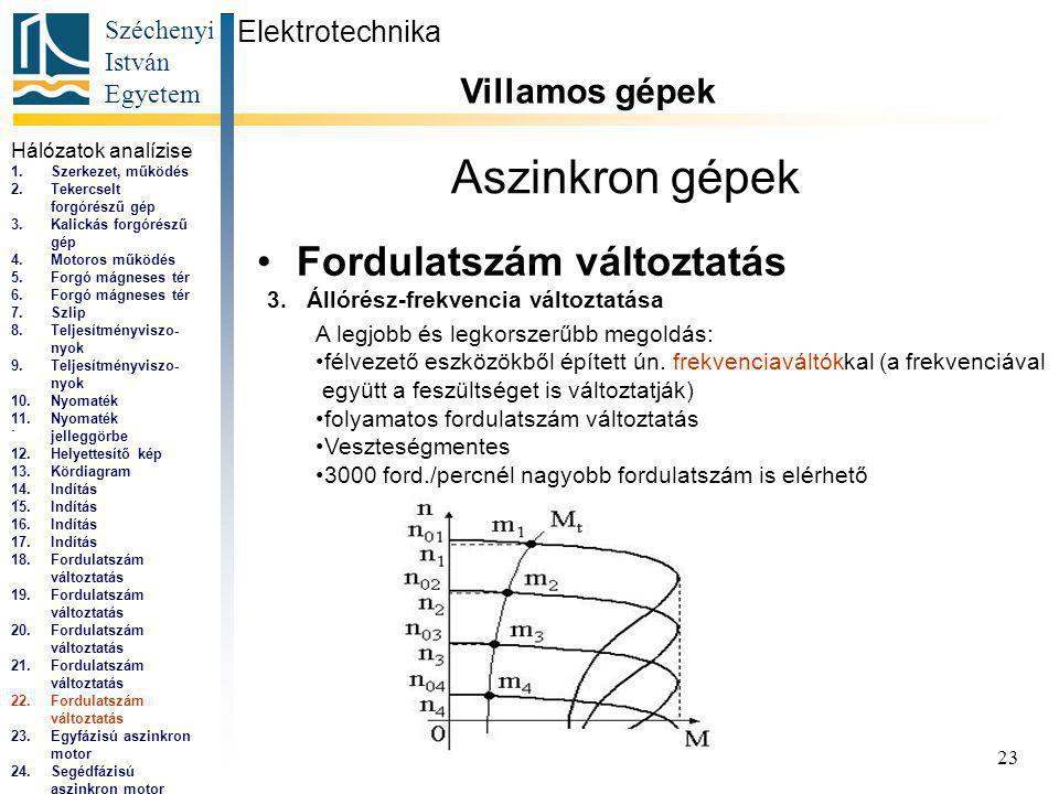 Széchenyi István Egyetem 23 Aszinkron gépek Fordulatszám változtatás Elektrotechnika Villamos gépek...