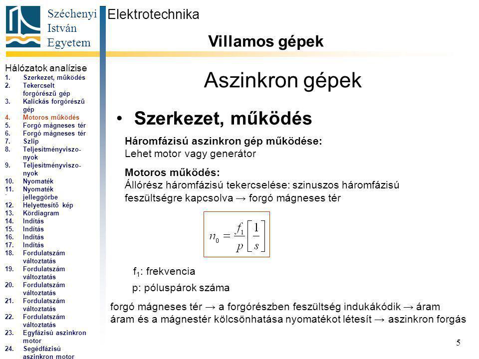 Széchenyi István Egyetem 5 Aszinkron gépek Szerkezet, működés Elektrotechnika Villamos gépek...
