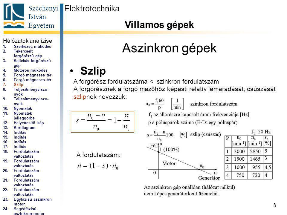 Széchenyi István Egyetem 8 Aszinkron gépek Szlip Elektrotechnika Villamos gépek...