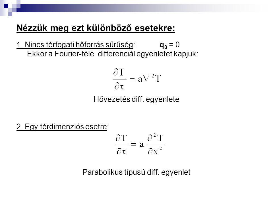 Nézzük meg ezt különböző esetekre: 1. Nincs térfogati hőforrás sűrűség: q 0 = 0 Ekkor a Fourier-féle differenciál egyenletet kapjuk: Hővezetés diff. e