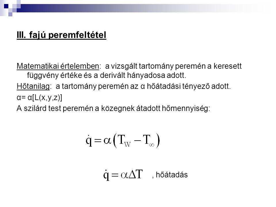 III. fajú peremfeltétel Matematikai értelemben: a vizsgált tartomány peremén a keresett függvény értéke és a derivált hányadosa adott. Hőtanilag: a ta