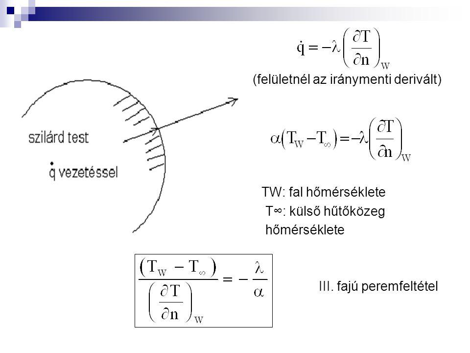 (felületnél az iránymenti derivált) TW: fal hőmérséklete T∞: külső hűtőközeg hőmérséklete III. fajú peremfeltétel
