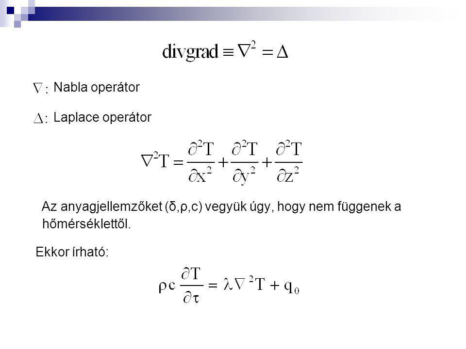 Nabla operátor Laplace operátor Az anyagjellemzőket (δ,ρ,c) vegyük úgy, hogy nem függenek a hőmérséklettől. Ekkor írható: