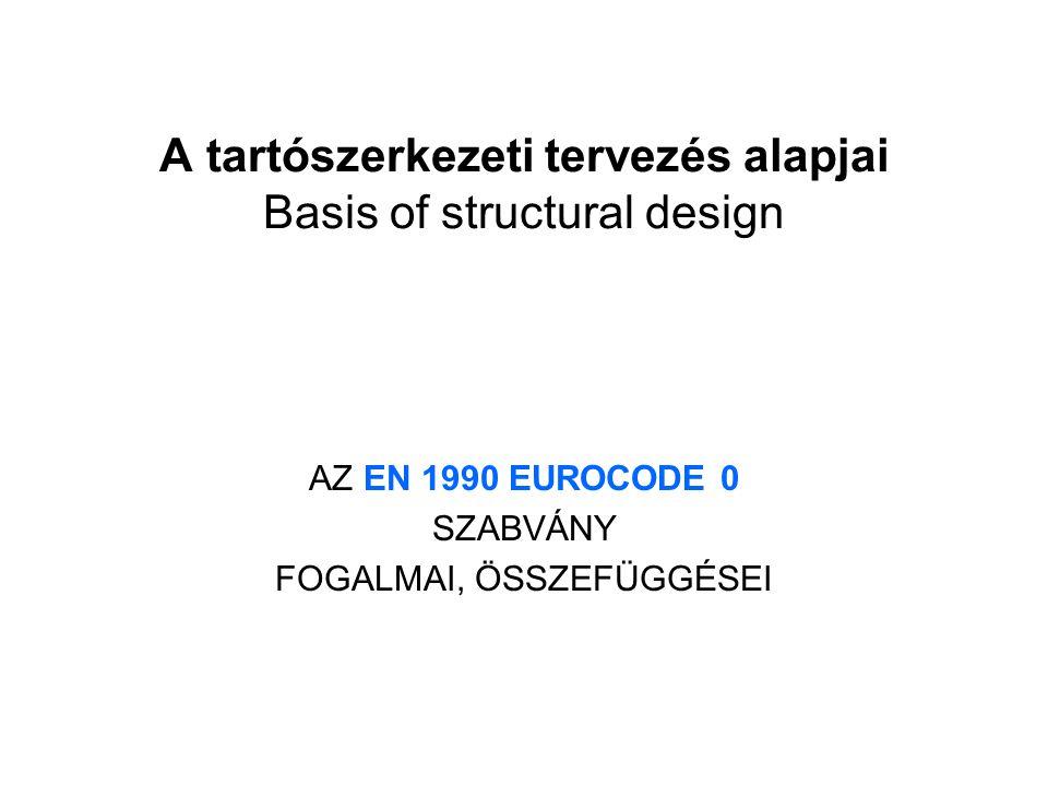 A tartószerkezeti tervezés alapjai Basis of structural design AZ EN 1990 EUROCODE 0 SZABVÁNY FOGALMAI, ÖSSZEFÜGGÉSEI