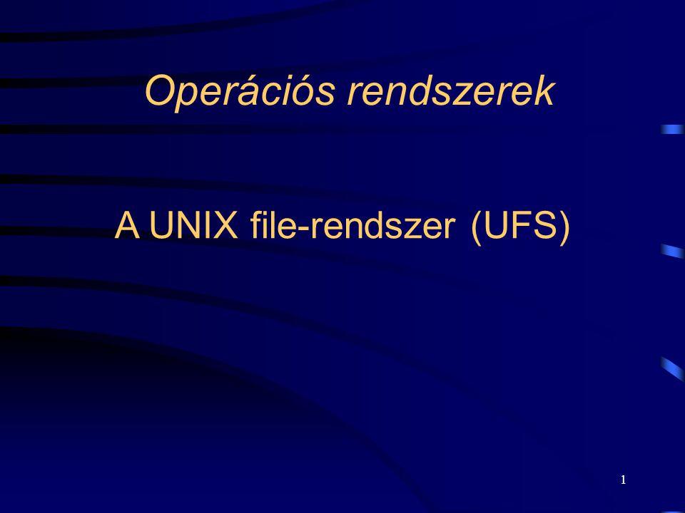 1 Operációs rendszerek A UNIX file-rendszer (UFS)