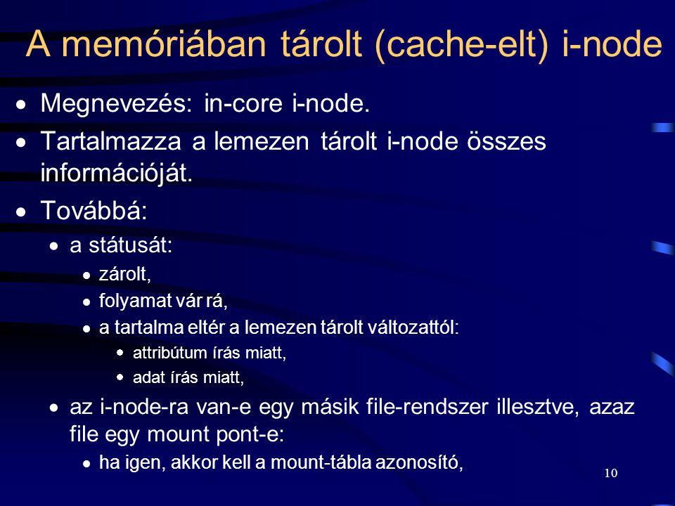 10 A memóriában tárolt (cache-elt) i-node  Megnevezés: in-core i-node.  Tartalmazza a lemezen tárolt i-node összes információját.  Továbbá:  a stá
