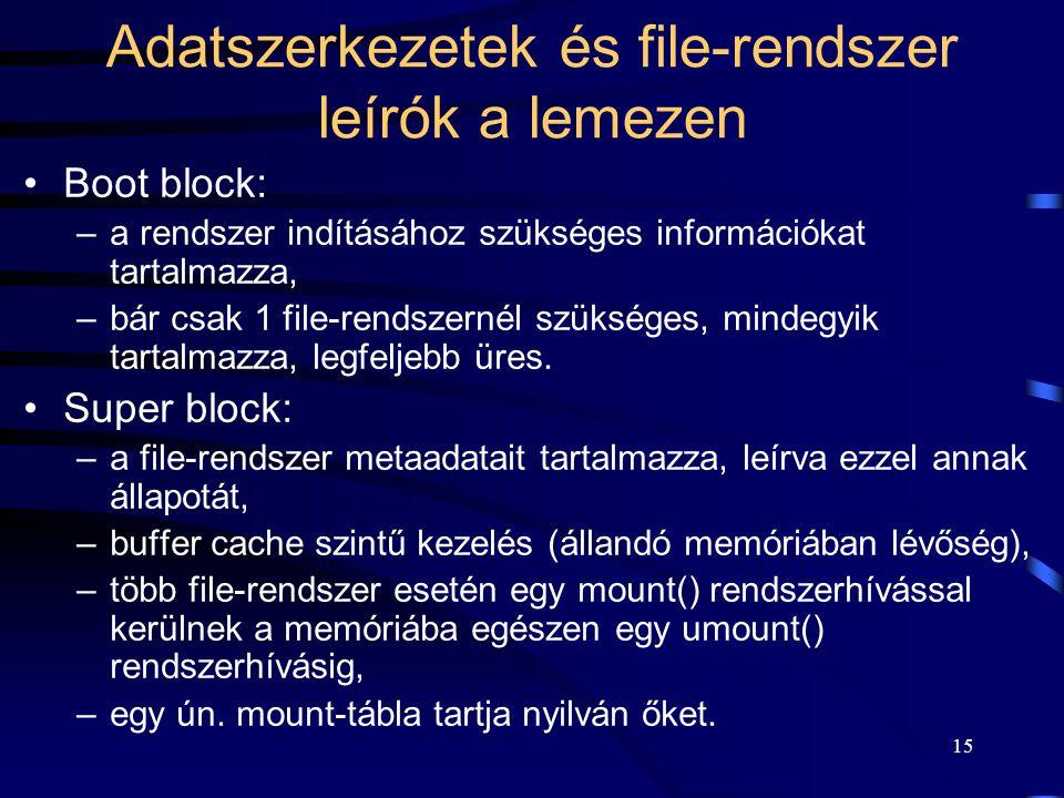 15 Adatszerkezetek és file-rendszer leírók a lemezen Boot block: –a rendszer indításához szükséges információkat tartalmazza, –bár csak 1 file-rendsze