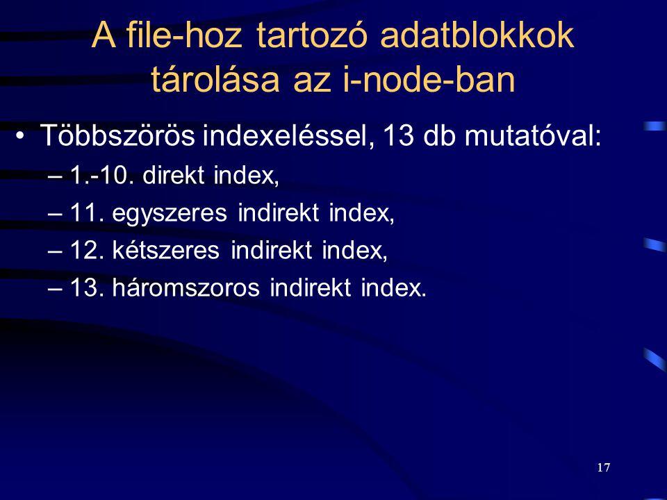 17 A file-hoz tartozó adatblokkok tárolása az i-node-ban Többszörös indexeléssel, 13 db mutatóval: –1.-10. direkt index, –11. egyszeres indirekt index