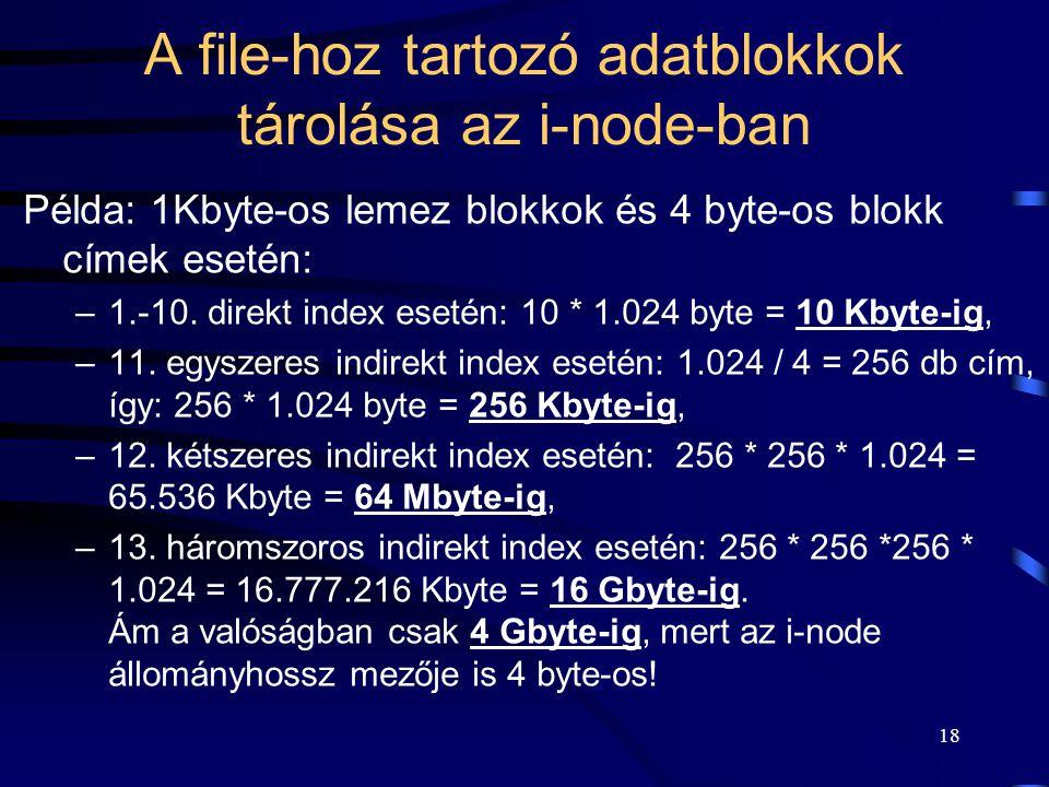 18 A file-hoz tartozó adatblokkok tárolása az i-node-ban Példa: 1Kbyte-os lemez blokkok és 4 byte-os blokk címek esetén: –1.-10. direkt index esetén:
