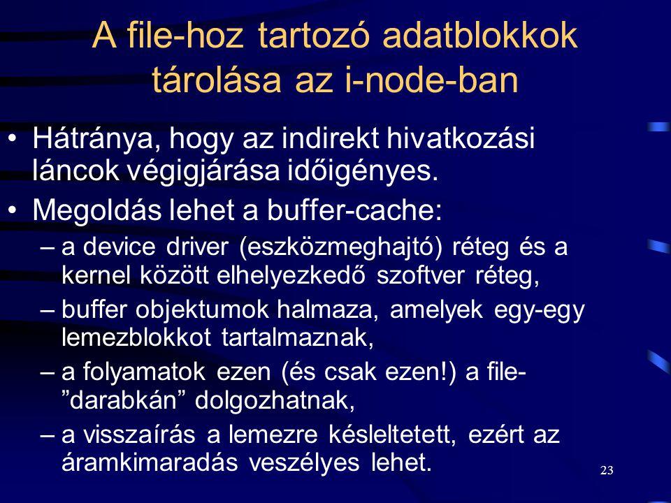 23 A file-hoz tartozó adatblokkok tárolása az i-node-ban Hátránya, hogy az indirekt hivatkozási láncok végigjárása időigényes. Megoldás lehet a buffer