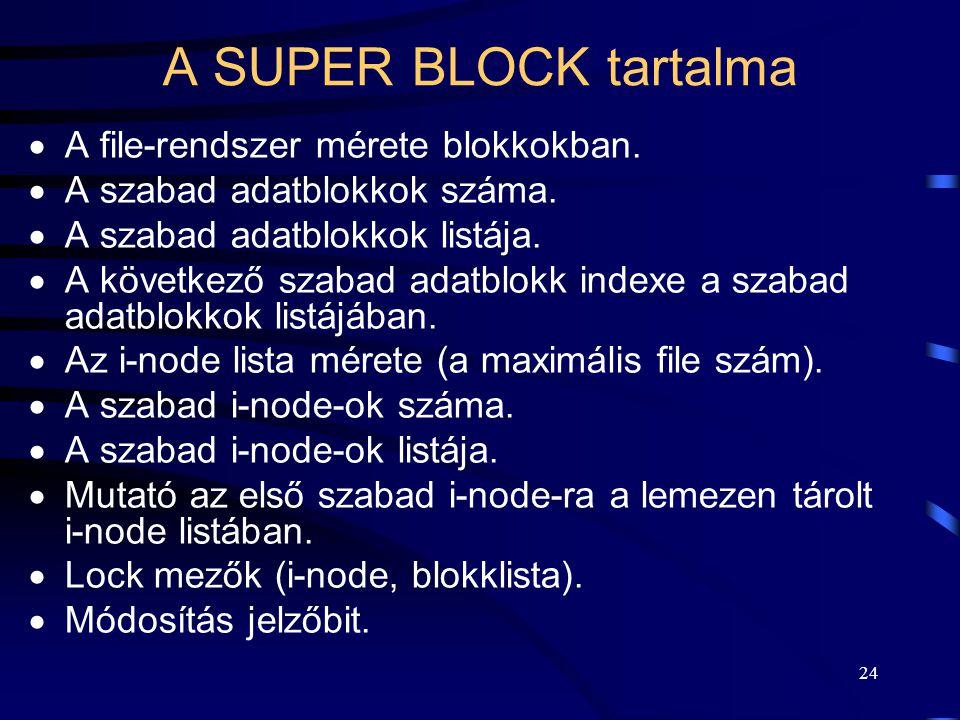 24 A SUPER BLOCK tartalma  A file-rendszer mérete blokkokban.  A szabad adatblokkok száma.  A szabad adatblokkok listája.  A következő szabad adat