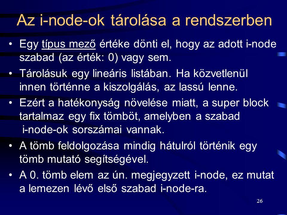 26 Az i-node-ok tárolása a rendszerben Egy típus mező értéke dönti el, hogy az adott i-node szabad (az érték: 0) vagy sem. Tárolásuk egy lineáris list
