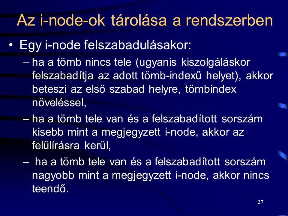 27 Az i-node-ok tárolása a rendszerben Egy i-node felszabadulásakor: –ha a tömb nincs tele (ugyanis kiszolgáláskor felszabadítja az adott tömb-indexű