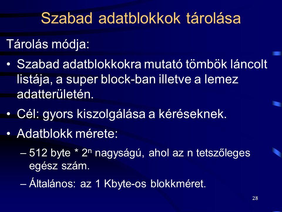 28 Szabad adatblokkok tárolása Tárolás módja: Szabad adatblokkokra mutató tömbök láncolt listája, a super block-ban illetve a lemez adatterületén. Cél