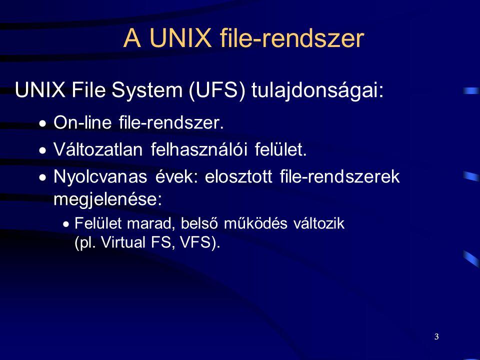 3 A UNIX file-rendszer UNIX File System (UFS) tulajdonságai:  On-line file-rendszer.  Változatlan felhasználói felület.  Nyolcvanas évek: elosztott