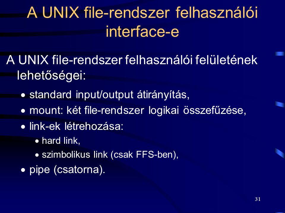 31 A UNIX file-rendszer felhasználói interface-e A UNIX file-rendszer felhasználói felületének lehetőségei:  standard input/output átirányítás,  mou