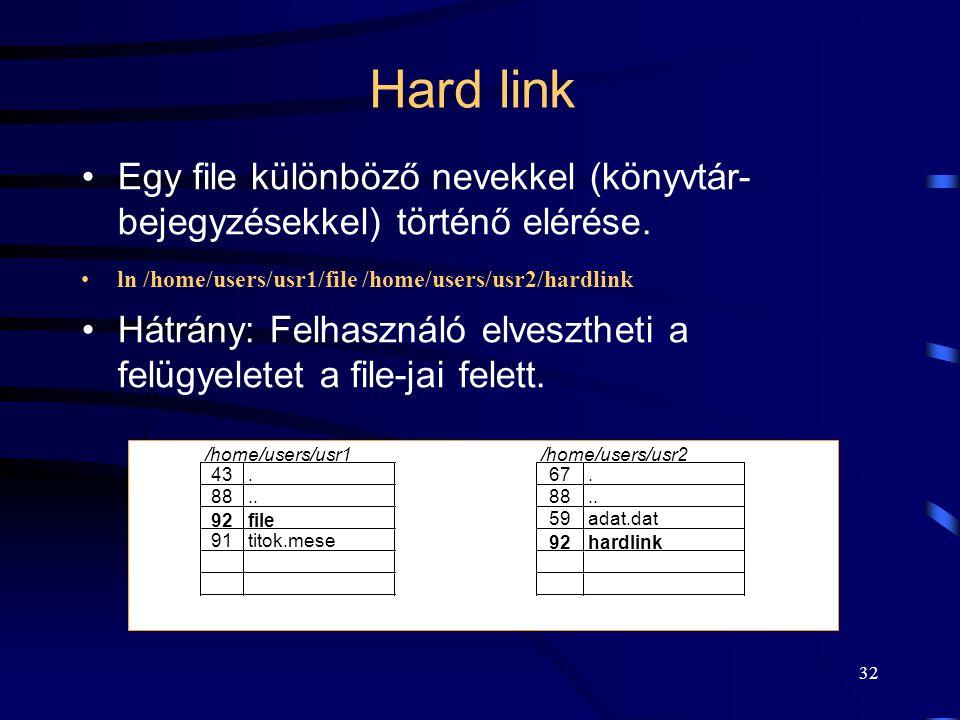 32 Hard link Egy file különböző nevekkel (könyvtár- bejegyzésekkel) történő elérése. ln /home/users/usr1/file /home/users/usr2/hardlink Hátrány: Felha