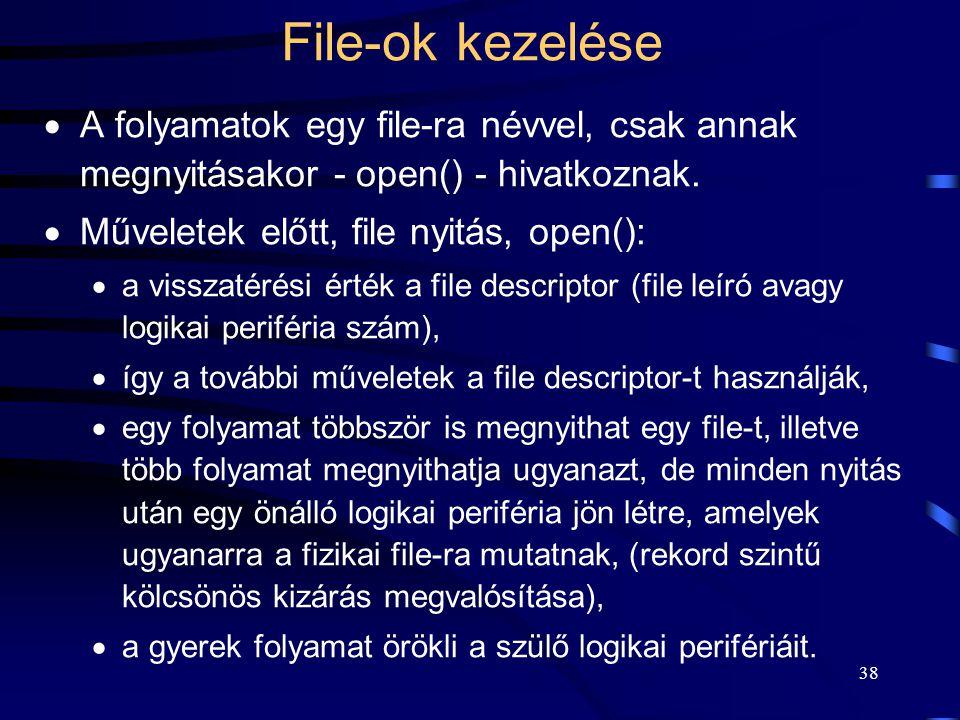38 File-ok kezelése  A folyamatok egy file-ra névvel, csak annak megnyitásakor - open() - hivatkoznak.  Műveletek előtt, file nyitás, open():  a vi