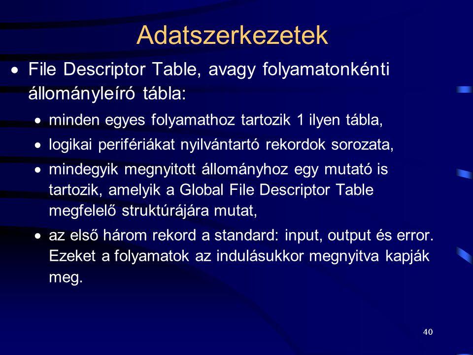 40 Adatszerkezetek  File Descriptor Table, avagy folyamatonkénti állományleíró tábla:  minden egyes folyamathoz tartozik 1 ilyen tábla,  logikai pe