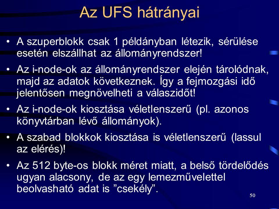 50 Az UFS hátrányai A szuperblokk csak 1 példányban létezik, sérülése esetén elszállhat az állományrendszer! Az i-node-ok az állományrendszer elején t