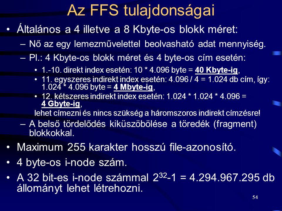 54 Az FFS tulajdonságai Általános a 4 illetve a 8 Kbyte-os blokk méret: –Nő az egy lemezművelettel beolvasható adat mennyiség. –Pl.: 4 Kbyte-os blokk