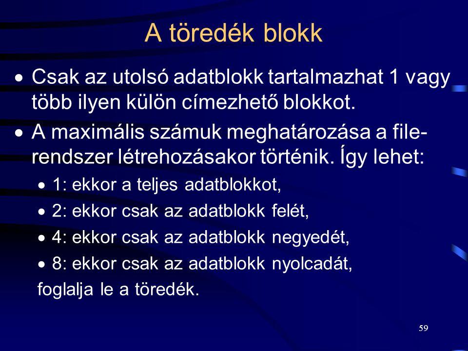 59 A töredék blokk  Csak az utolsó adatblokk tartalmazhat 1 vagy több ilyen külön címezhető blokkot.  A maximális számuk meghatározása a file- rends