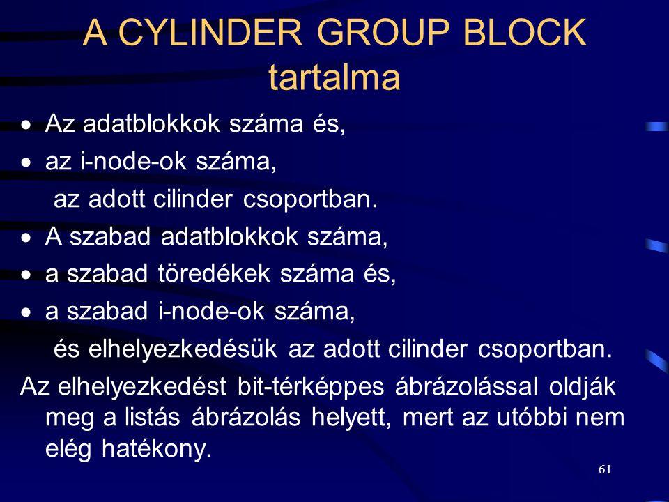 61 A CYLINDER GROUP BLOCK tartalma  Az adatblokkok száma és,  az i-node-ok száma, az adott cilinder csoportban.  A szabad adatblokkok száma,  a sz