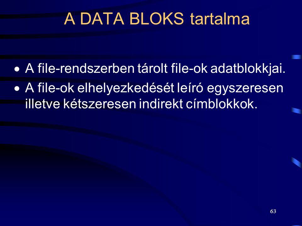63 A DATA BLOKS tartalma  A file-rendszerben tárolt file-ok adatblokkjai.  A file-ok elhelyezkedését leíró egyszeresen illetve kétszeresen indirekt