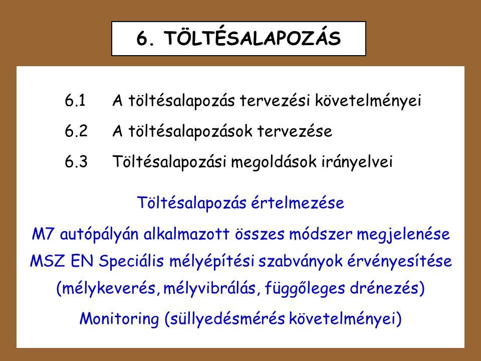 6. TÖLTÉSALAPOZÁS 6.1A töltésalapozás tervezési követelményei 6.2A töltésalapozások tervezése 6.3Töltésalapozási megoldások irányelvei Töltésalapozás