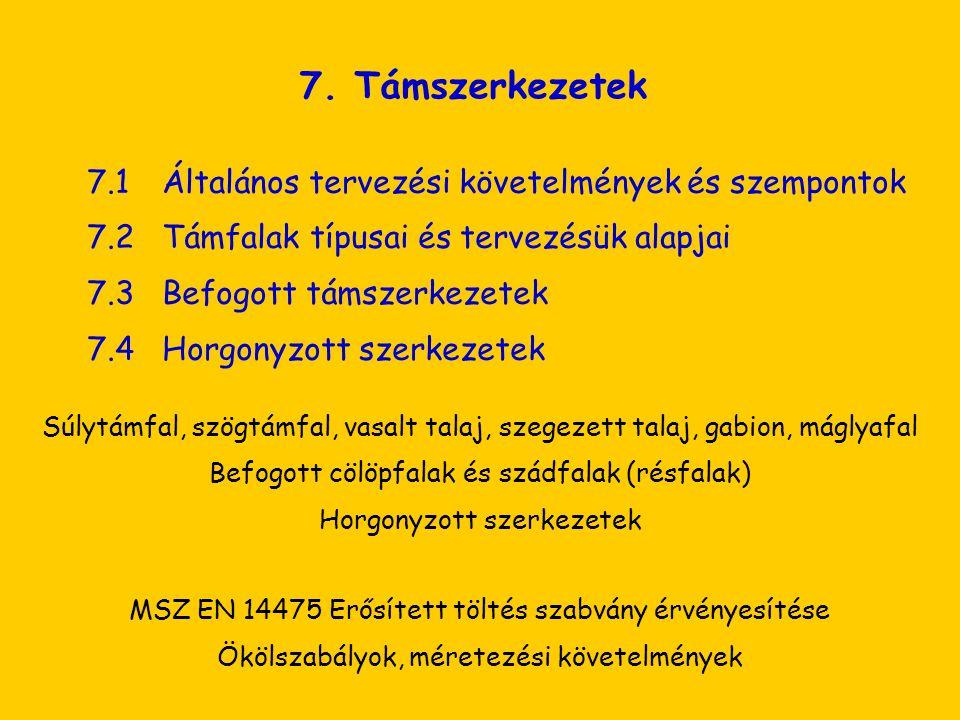 7. Támszerkezetek 7.1Általános tervezési követelmények és szempontok 7.2Támfalak típusai és tervezésük alapjai 7.3Befogott támszerkezetek 7.4Horgonyzo