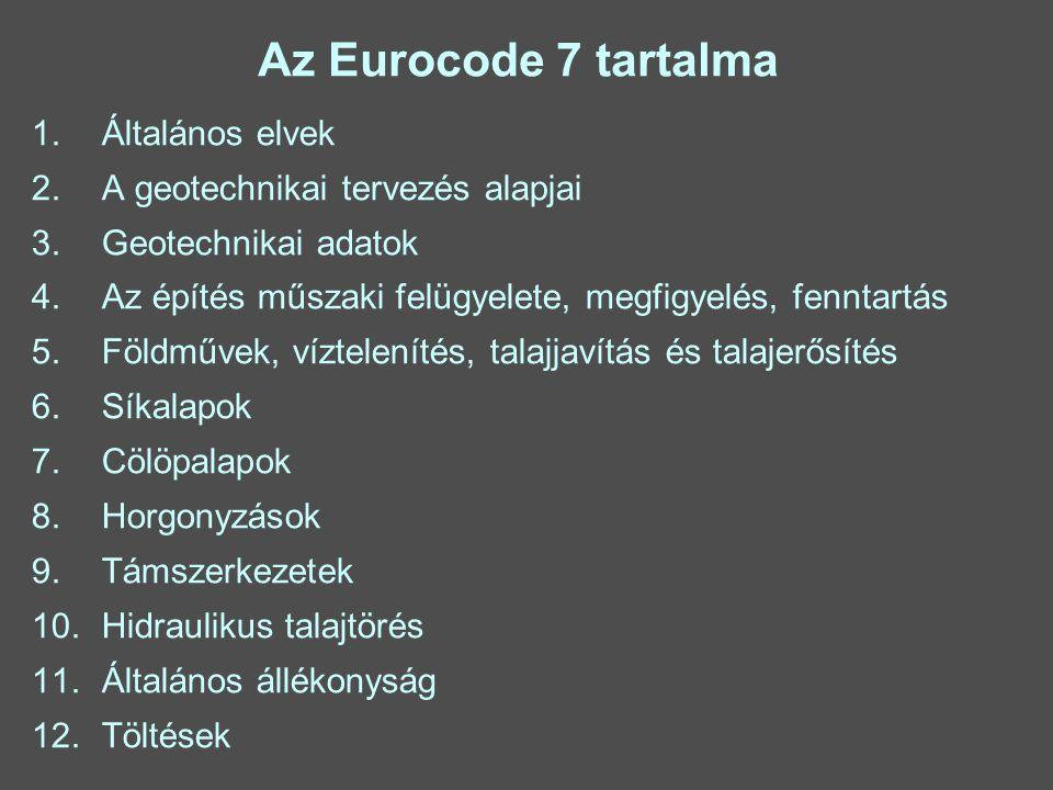 Az Eurocode 7 tartalma 1.Általános elvek 2. A geotechnikai tervezés alapjai 3.